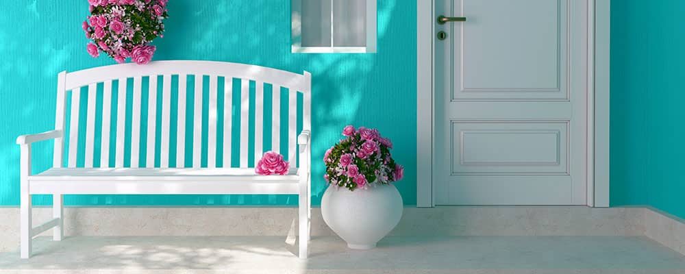 front door with a bench