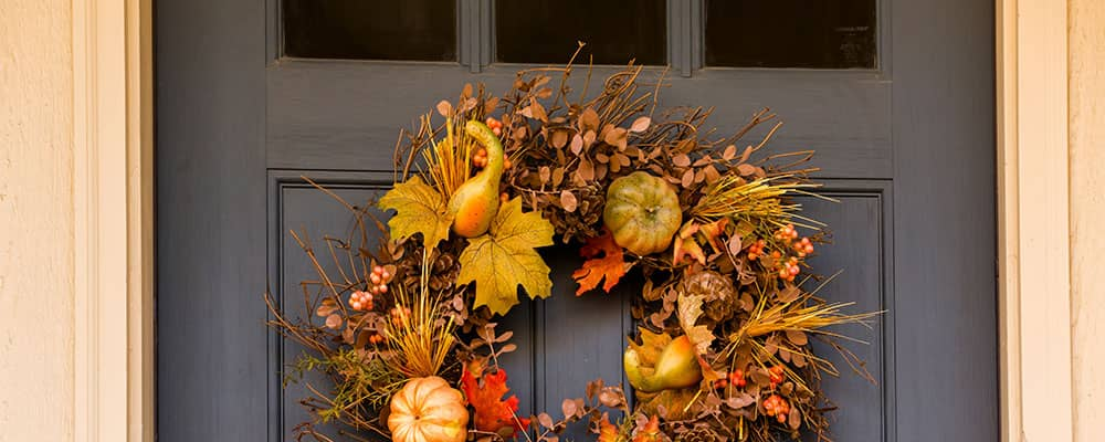 front door with an autumn wreath