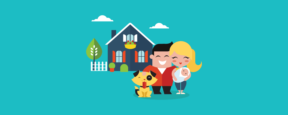 family in front of their house illustration