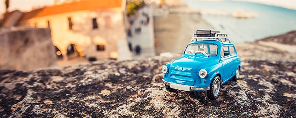 toy car on a hill