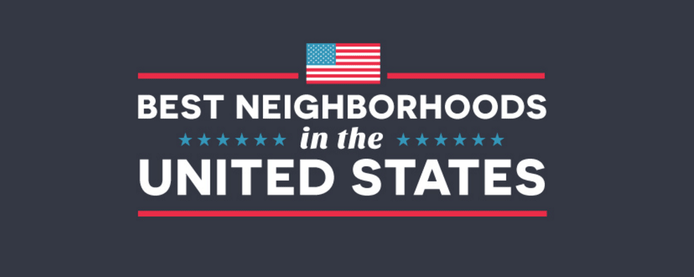 Best Neighborhoods in the United States text with flag