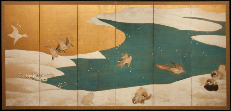 Japanese Six Panel Screen: Snow Scene of Mallards in Winter Landscape with Romping Puppies (Akita)