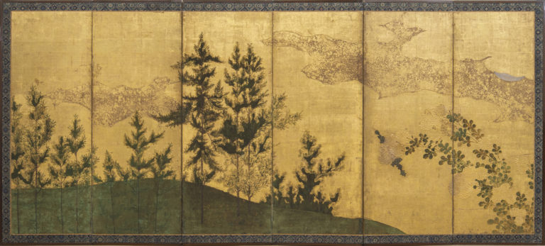 Japanese Six Panel Screen: Pine Landscape in Gold with Sliver of Luminous Moon