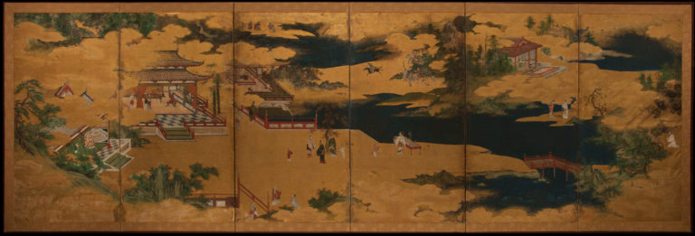 Japanese Six Panel Screen: Nijushi-ko (The Twenty-Four Paragons of Filial Piety)