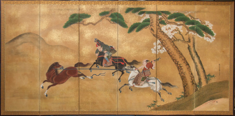 Japanese Six Panel Screen: Japanese Horsemen Subduing Horses