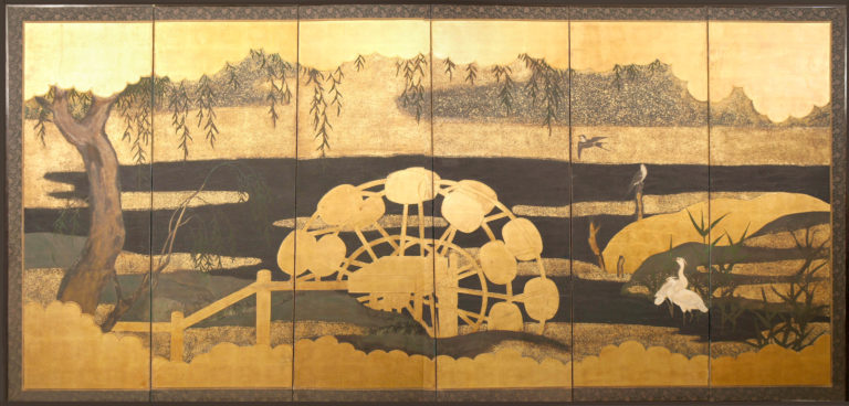 Japanese Six Panel Screen: Water Wheel with Herons and Swallows