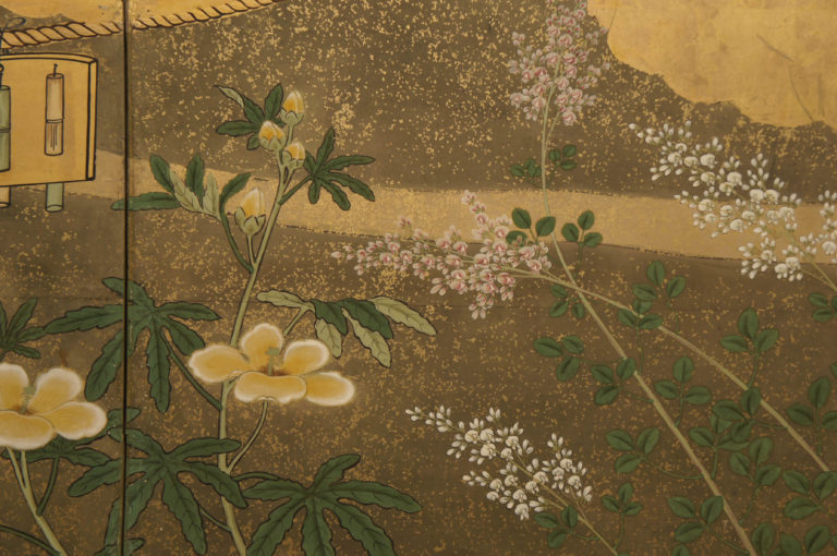 Japanese Six Panel Screen: Venerable Pine with Naruko (Noise making Clackers to Protect Rice Harvest from Birds)