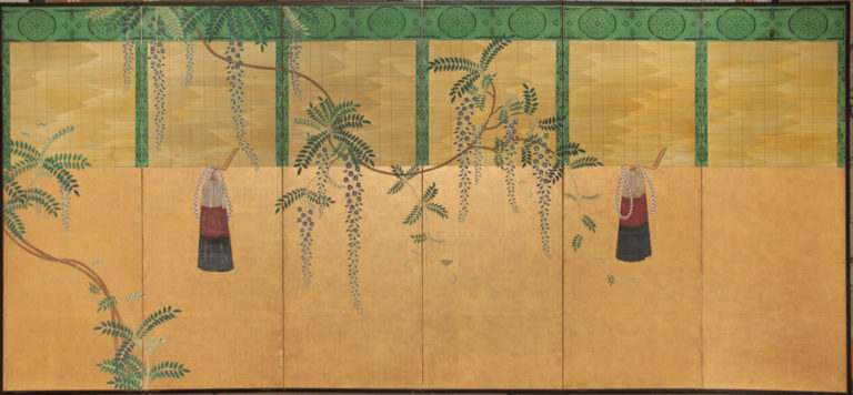 Japanese Six Panel Screen: Sudare and Wisteria – A