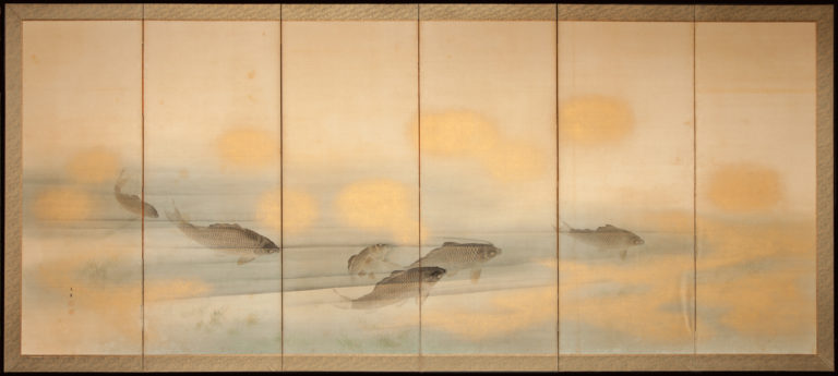 Japanese Six Panel Screen: School of Swimming Carp