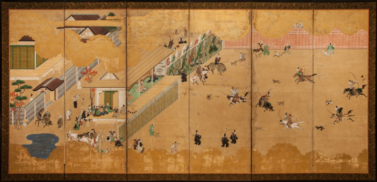 Japanese Six Panel Screen: Inuoumono (Dog Chase) – A