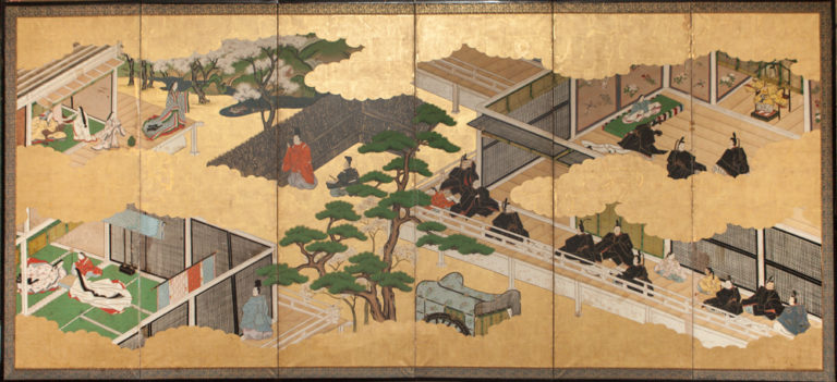 Japanese Six Panel Screen: Genji Court Scenes from the Tale of Genji