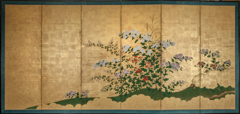 Japanese Six Panel Screen: Chrysanthemums