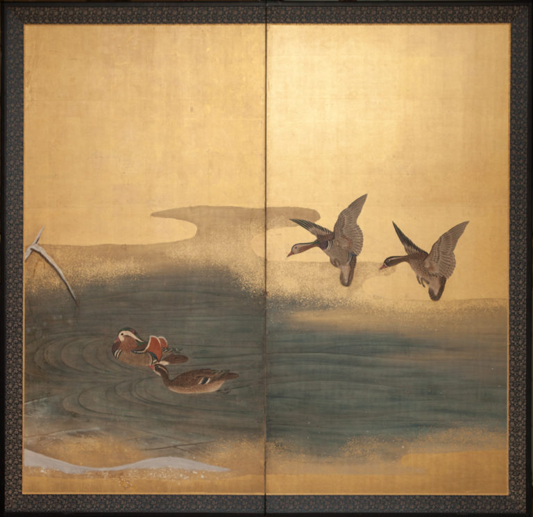 Japanese Two Panel Screen: Mallard Ducks on a Frozen Pond
