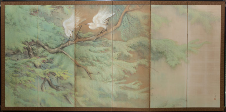 Japanese Six Panel Screen: Egrets in the Rain