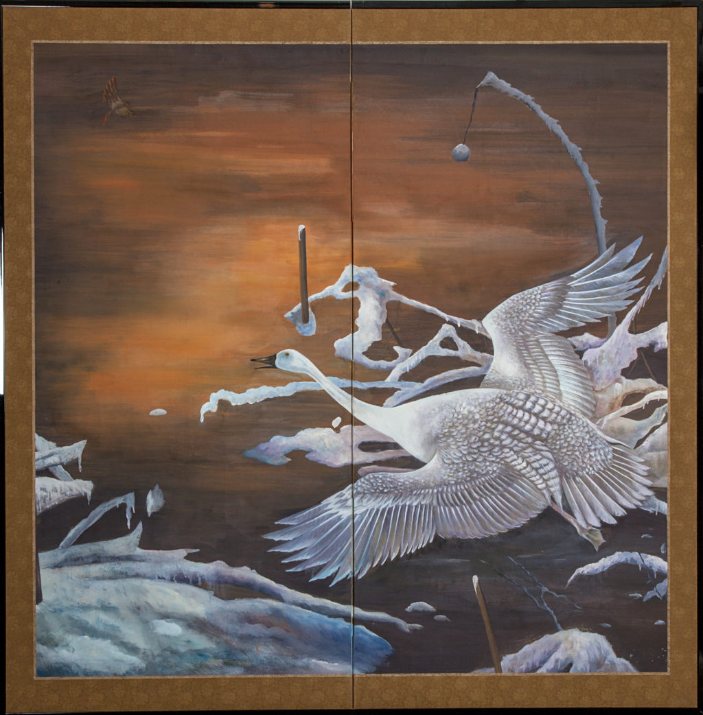 Japanese Two Panel Screen: Snow Goose in Flight at Dawn