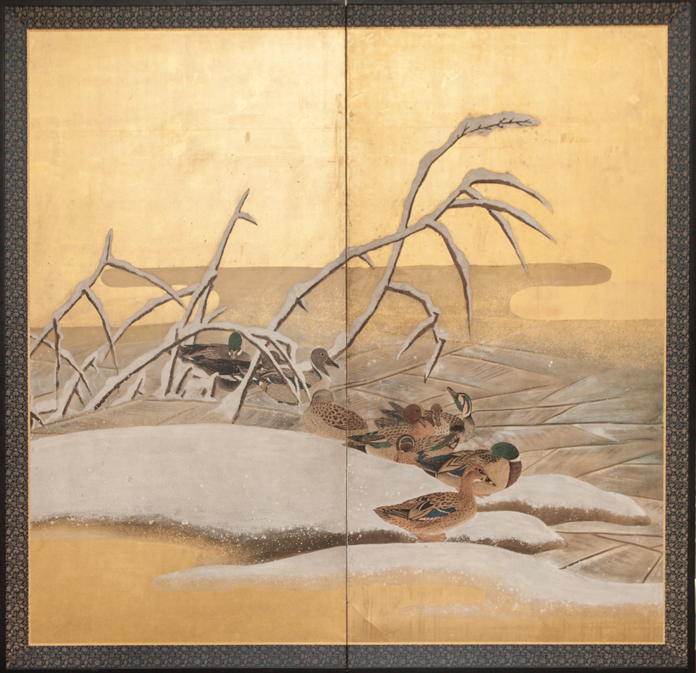 Japanese Two Panel Screen: Mandarin Ducks in Winter