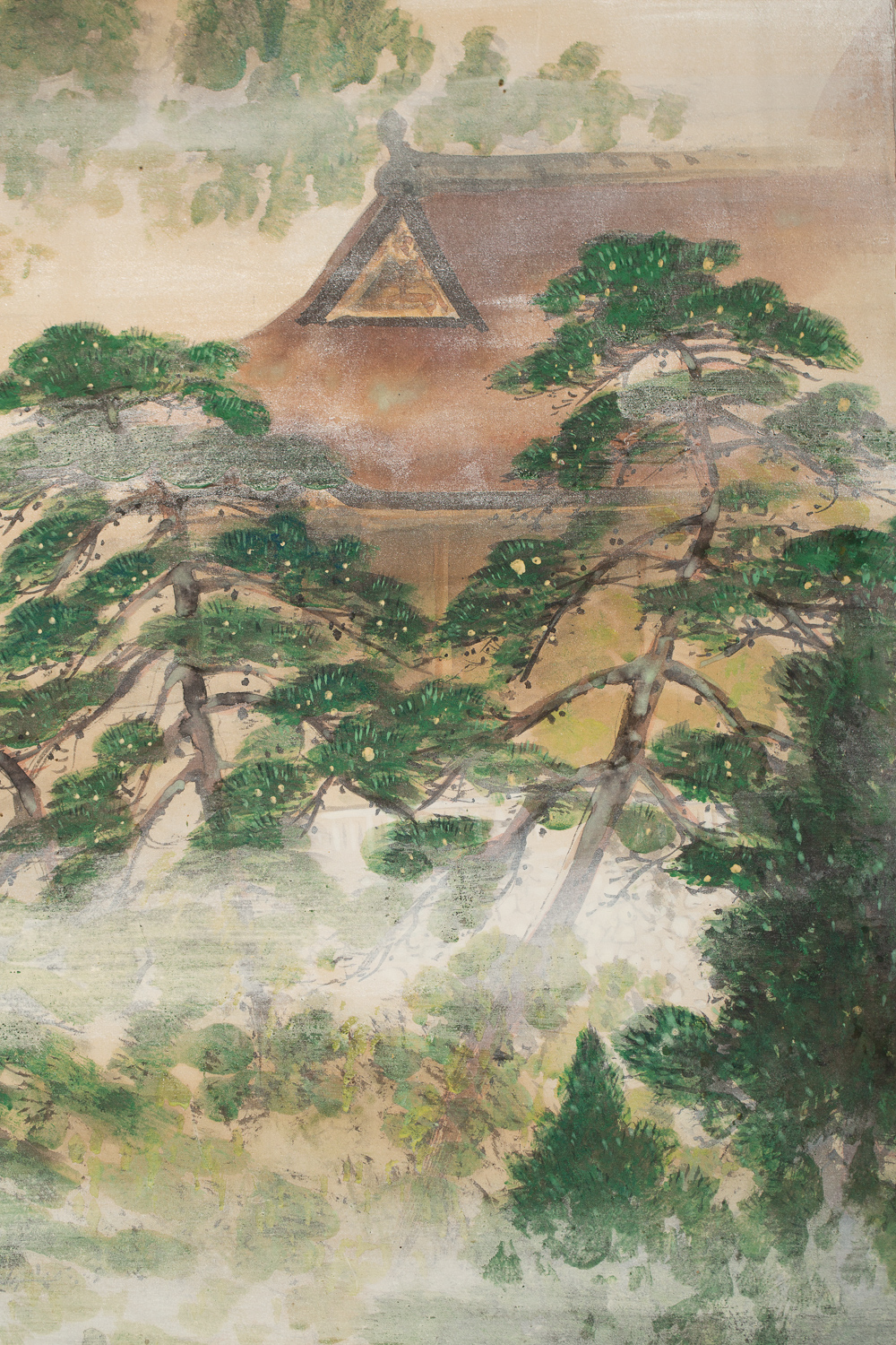 Japanese Two Panel Screen: Spring Mist in Kyoto
