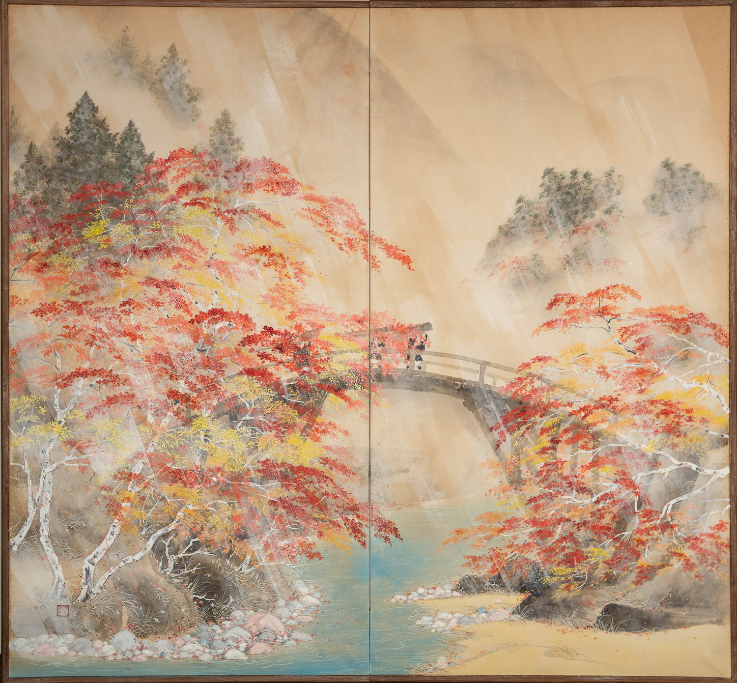 Japanese Two Panel Screen: Autumn Kyoto Country Scene