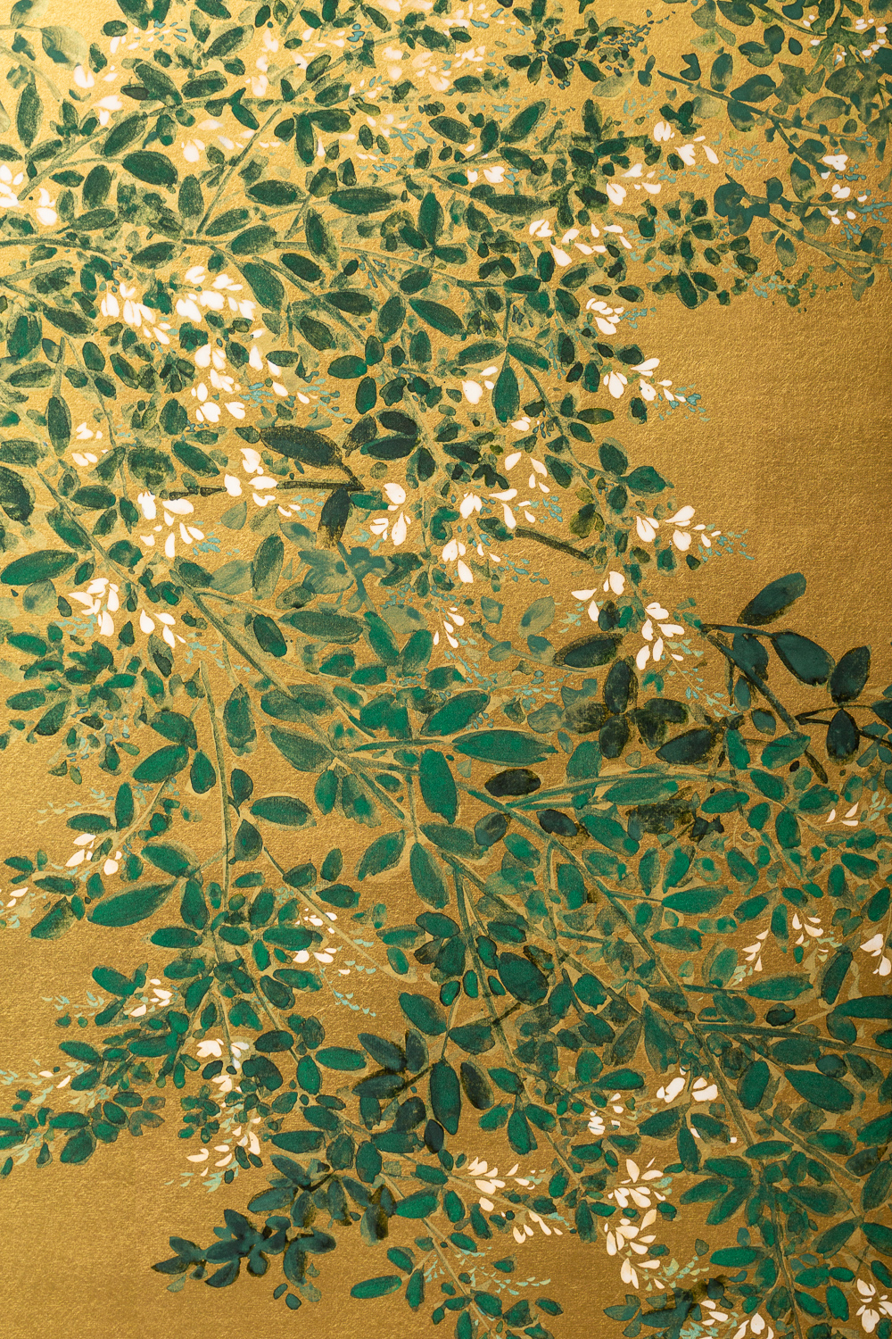 Japanese Two Panel Screen: Flowering Hedge (Japanese Privet)