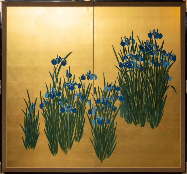 Japanese Two Panel Screen: Irises on Gold