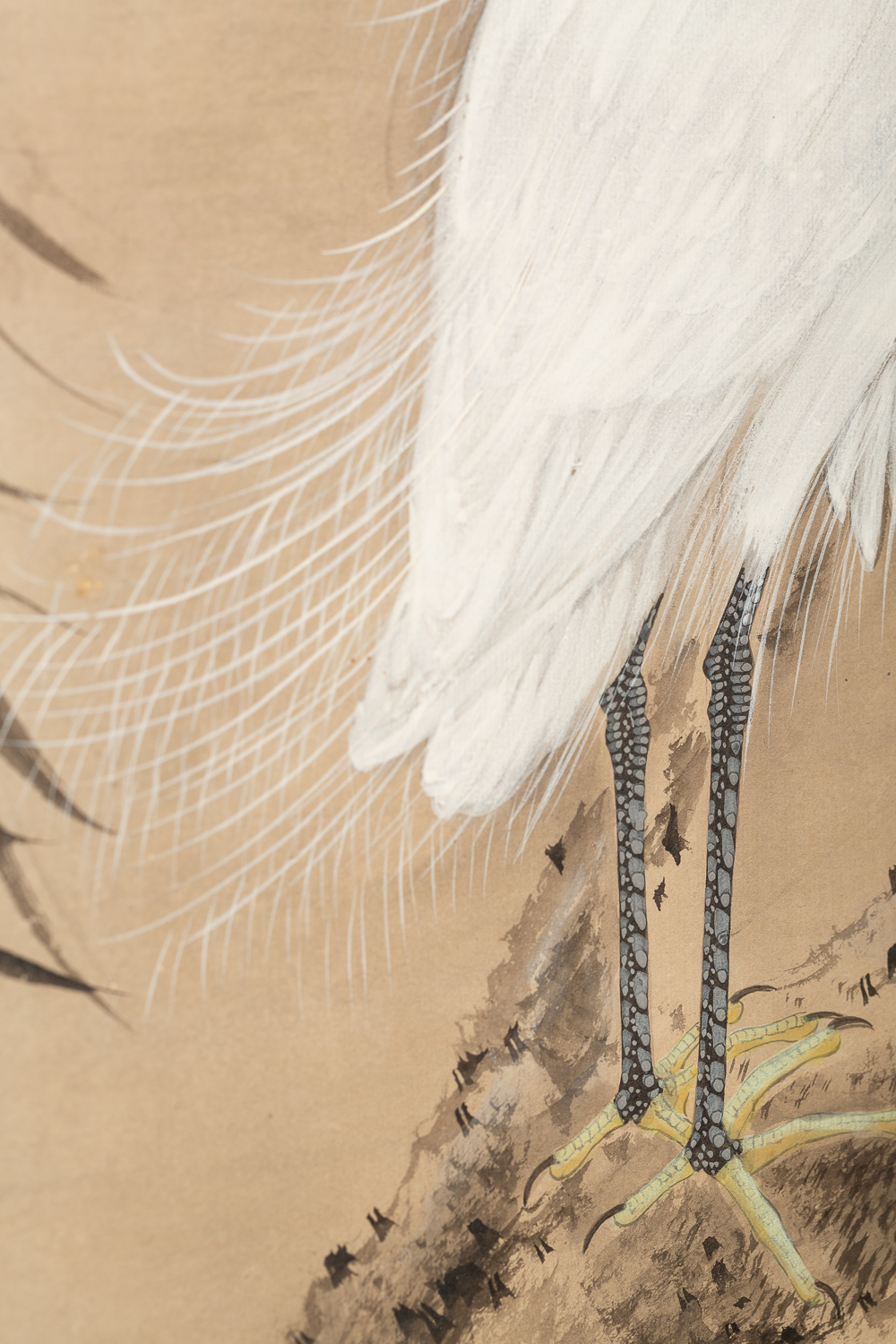 Japanese Two Panel Screen:  Herons in Willow by Pond's Edge