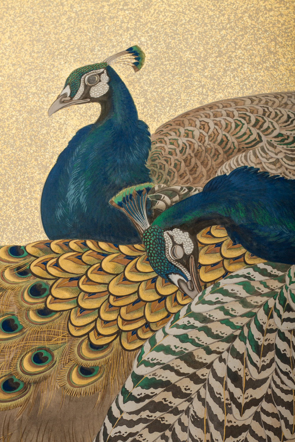Japaese Two Panel Screen: Family of Peafowl, A Symbol of Family Prosperity