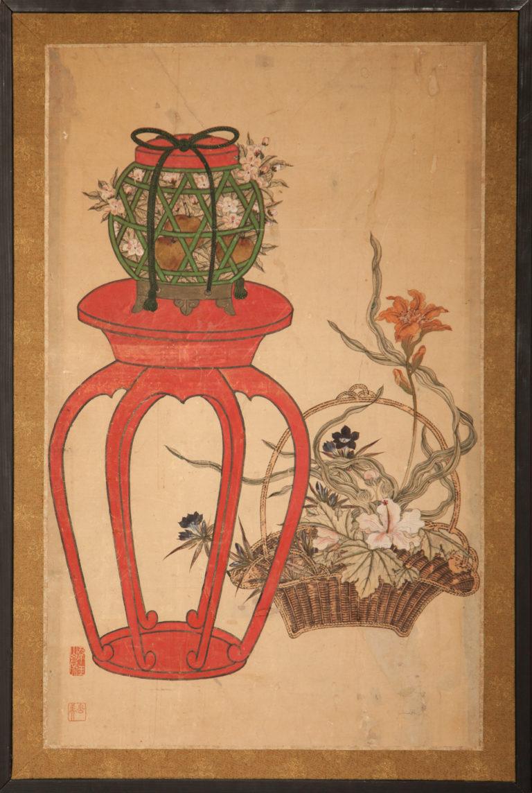 Japanese Single Panel Screen: Ikebana (Flower Arranging Basket)