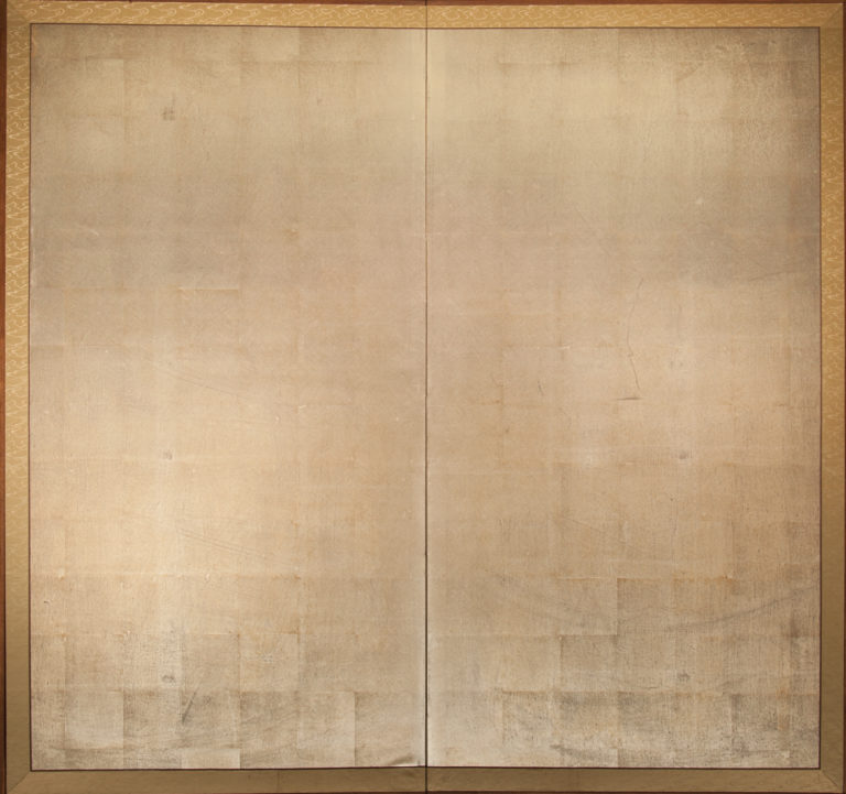 Japanese Two Panel Screen: Silver Leaf Screen