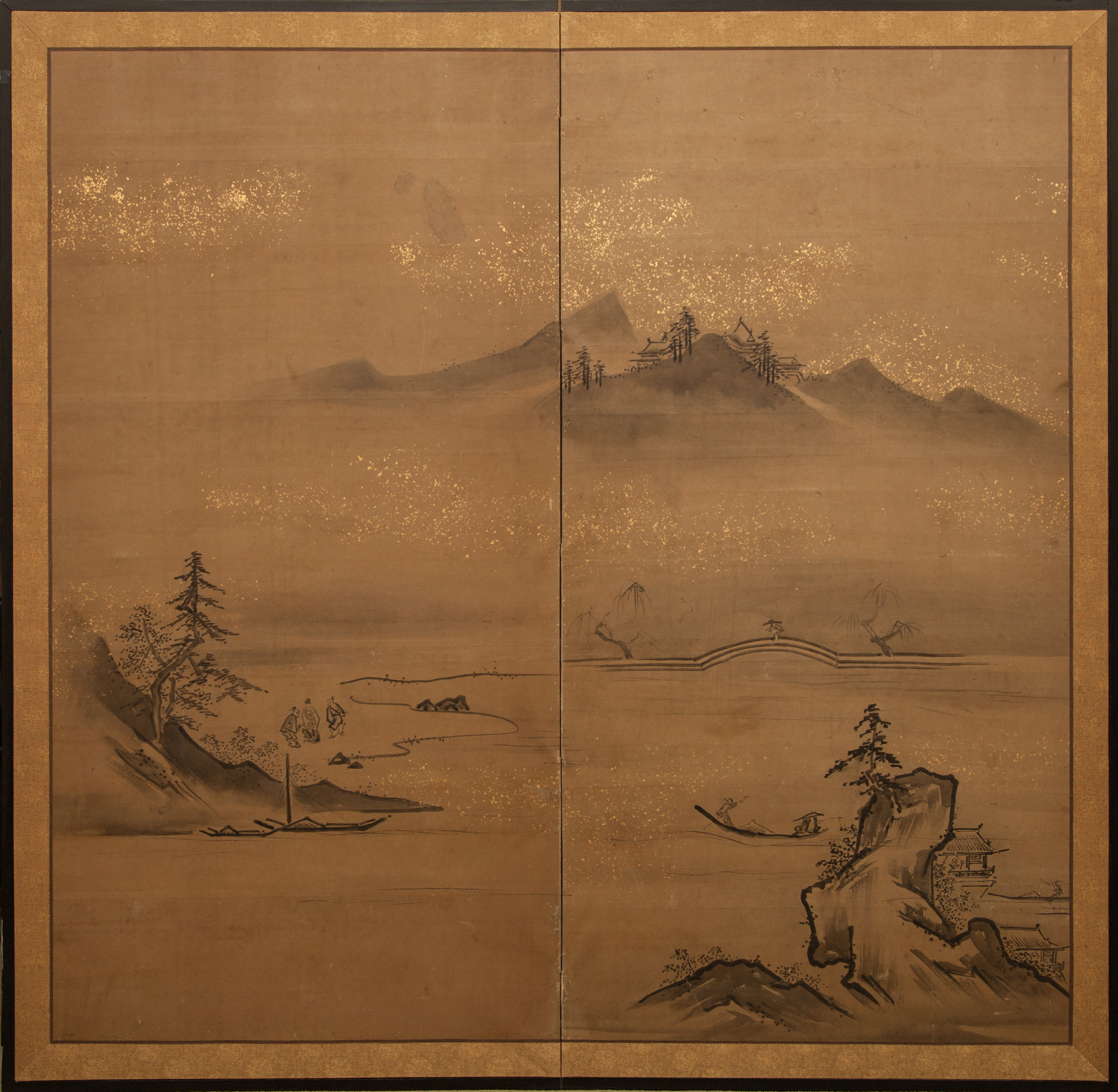 Japanese Two Panel Screen: Ink Landscape on Paper with Gold Dust.