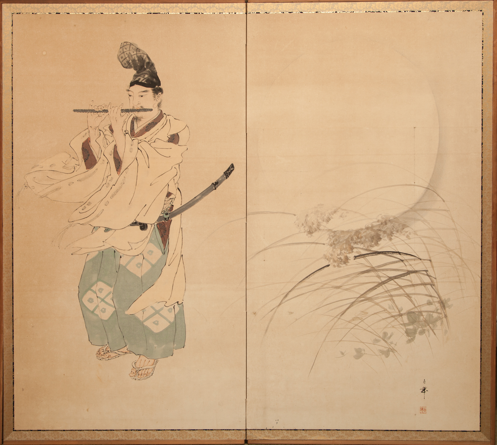 Japanese Two Panel Screen: Flute Player in Moonlit Pampas Grass