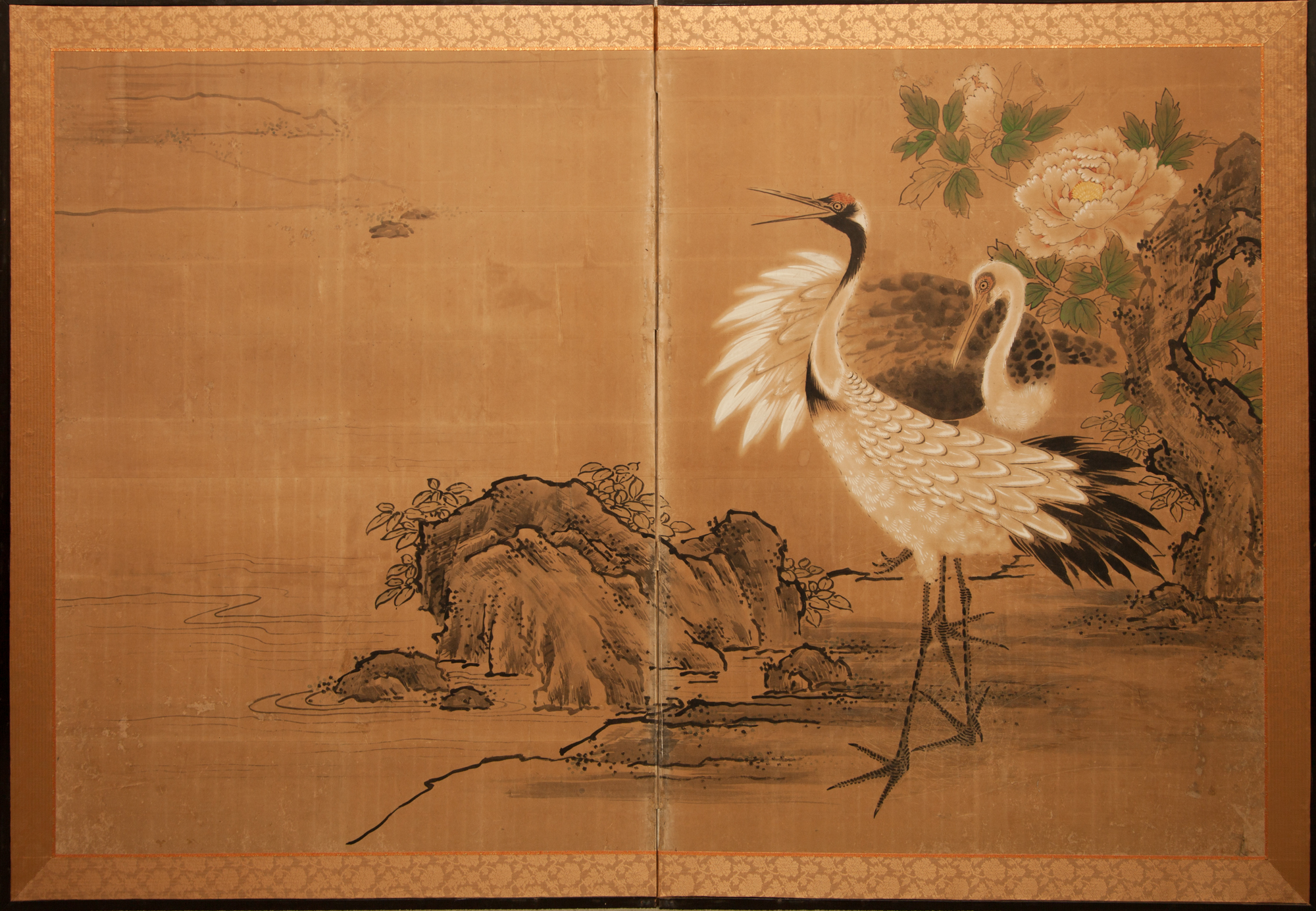 Japanese Two Panel Screen: Two Cranes and Pine by Water's Edge