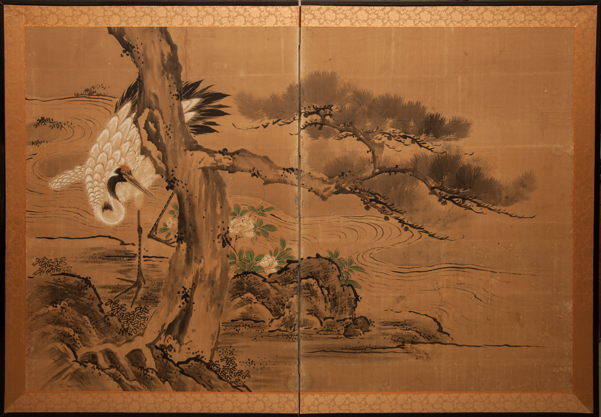 Japanese Two Panel Screen: Crane and Pine by Water's Edge with Peony