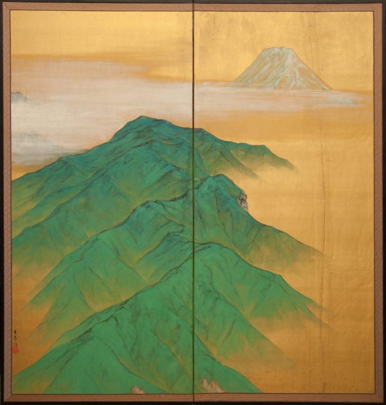 Japanese Two Panel Screen: Mt. Fuji On Silk