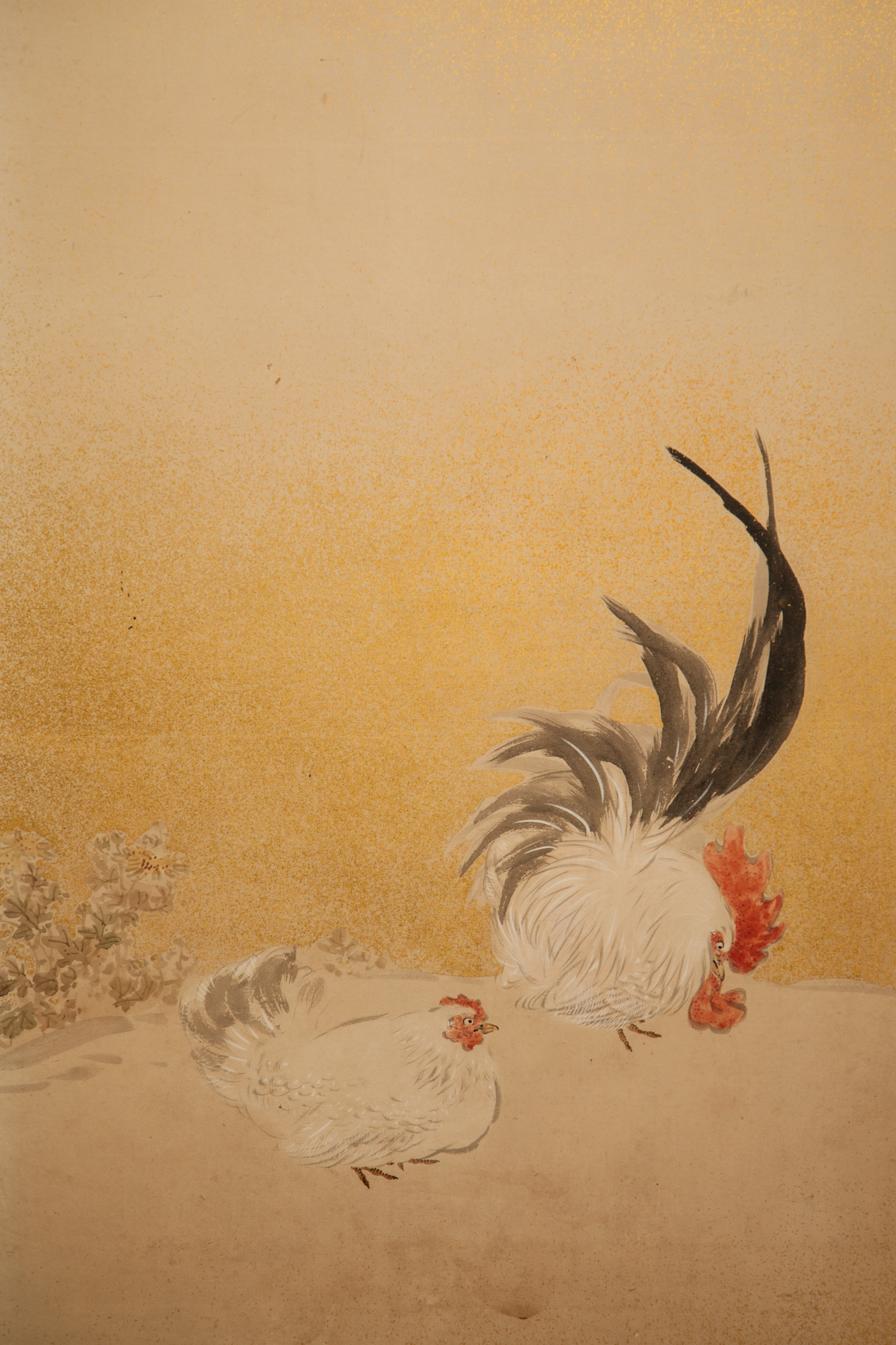 Japanese Two Panel Screen: Rooster and Hens in Windswept Landscape