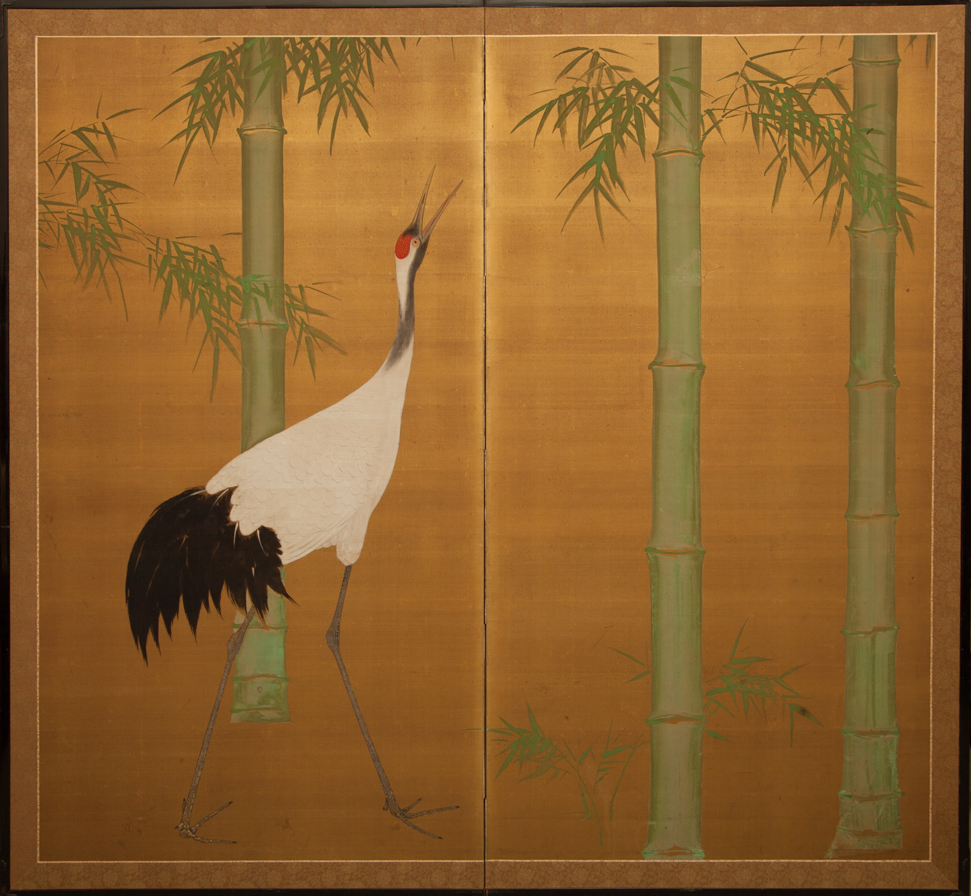 Japanese Two Panel Screen: Bamboo and Manchurian Crane