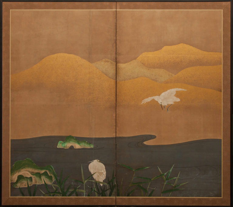 Japanese Two Panel Screen: Herons at Water's Edge