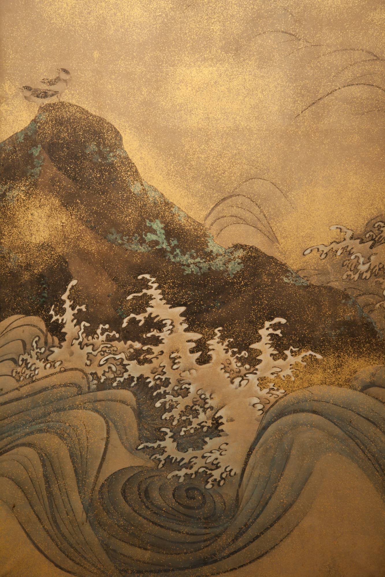Japanese Two Panel Screen: Rocks and Waves With Plovers
