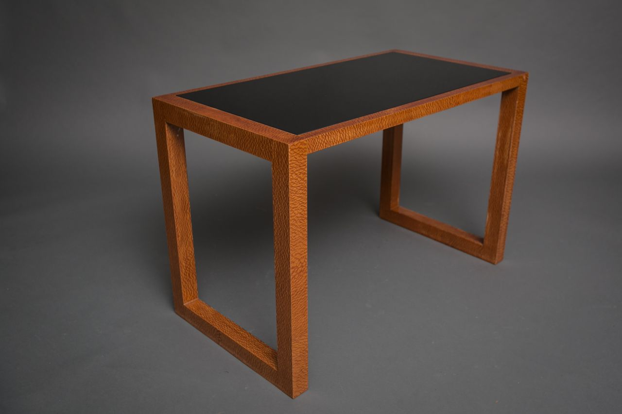 Art Deco Walnut Table with Glass Insert Top
