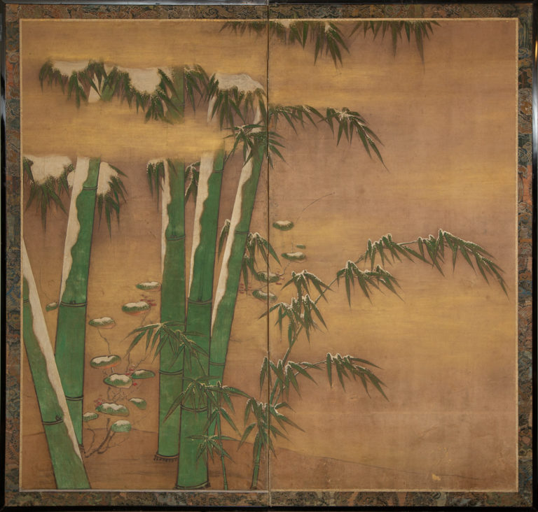 Japanese Two Panel Screen: Bamboo in Early Snow