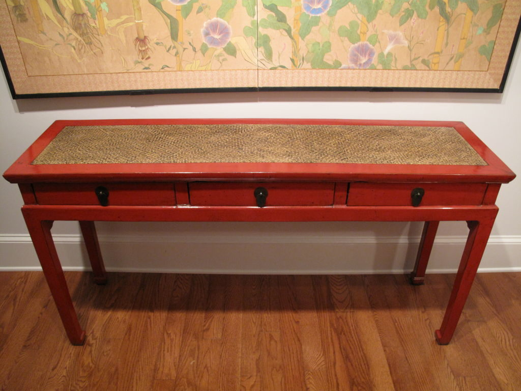 Chinese Red Lacquer Console Table