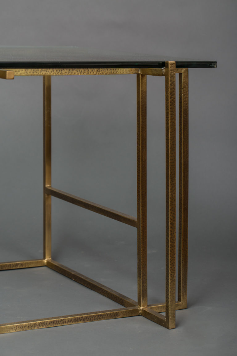 Contemporary Brass and Glass Side Table
