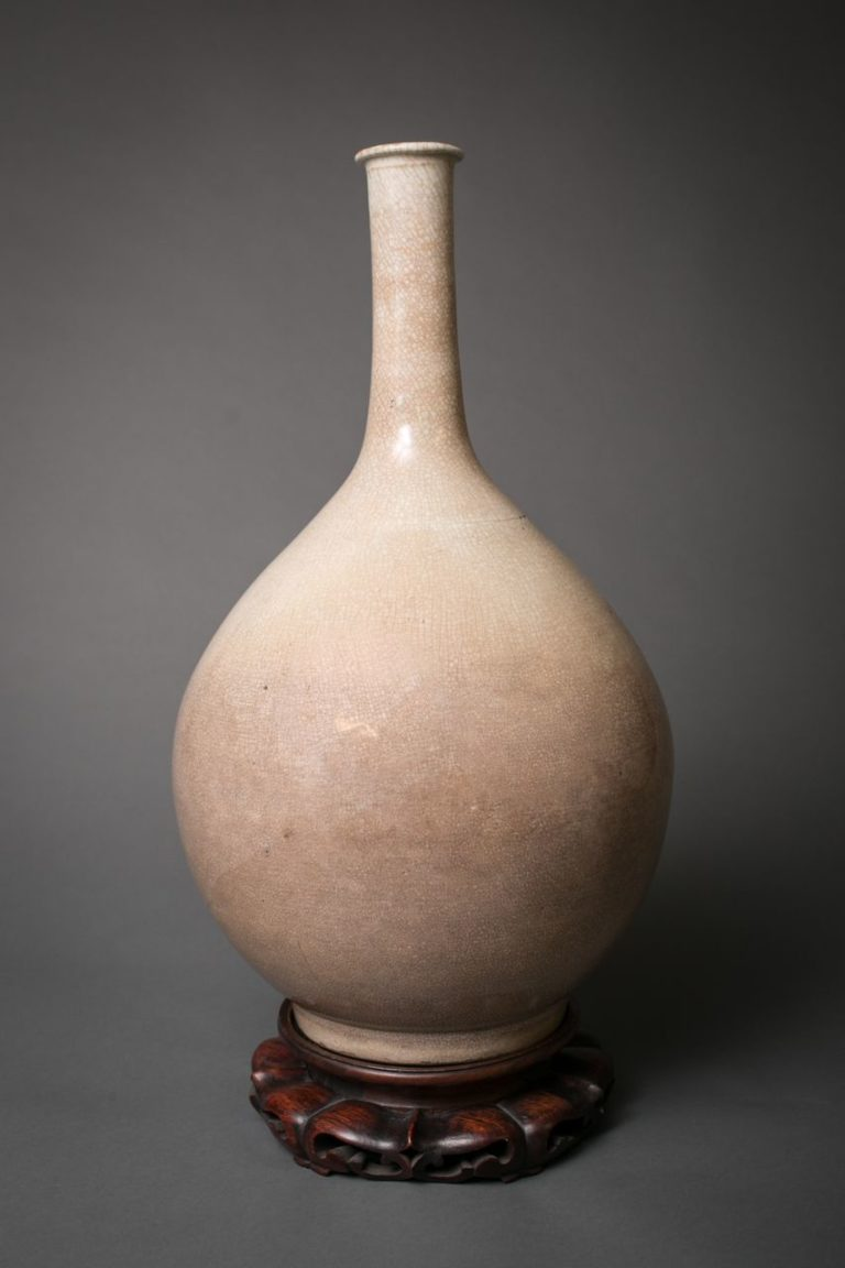 Crackle-Glazed Porcelain Bottle-Form Vase