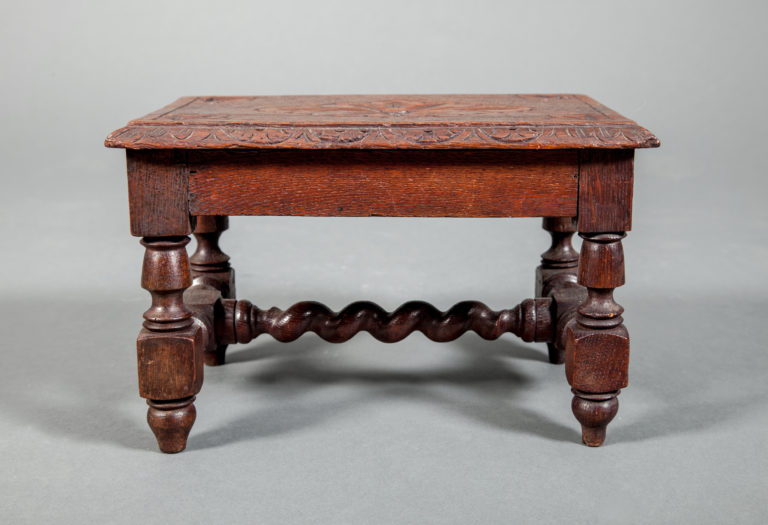 English Oak Miniature Stool With Flower Design on Top.