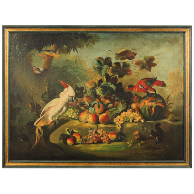 European School: Classical Still Life with Birds and Fruit