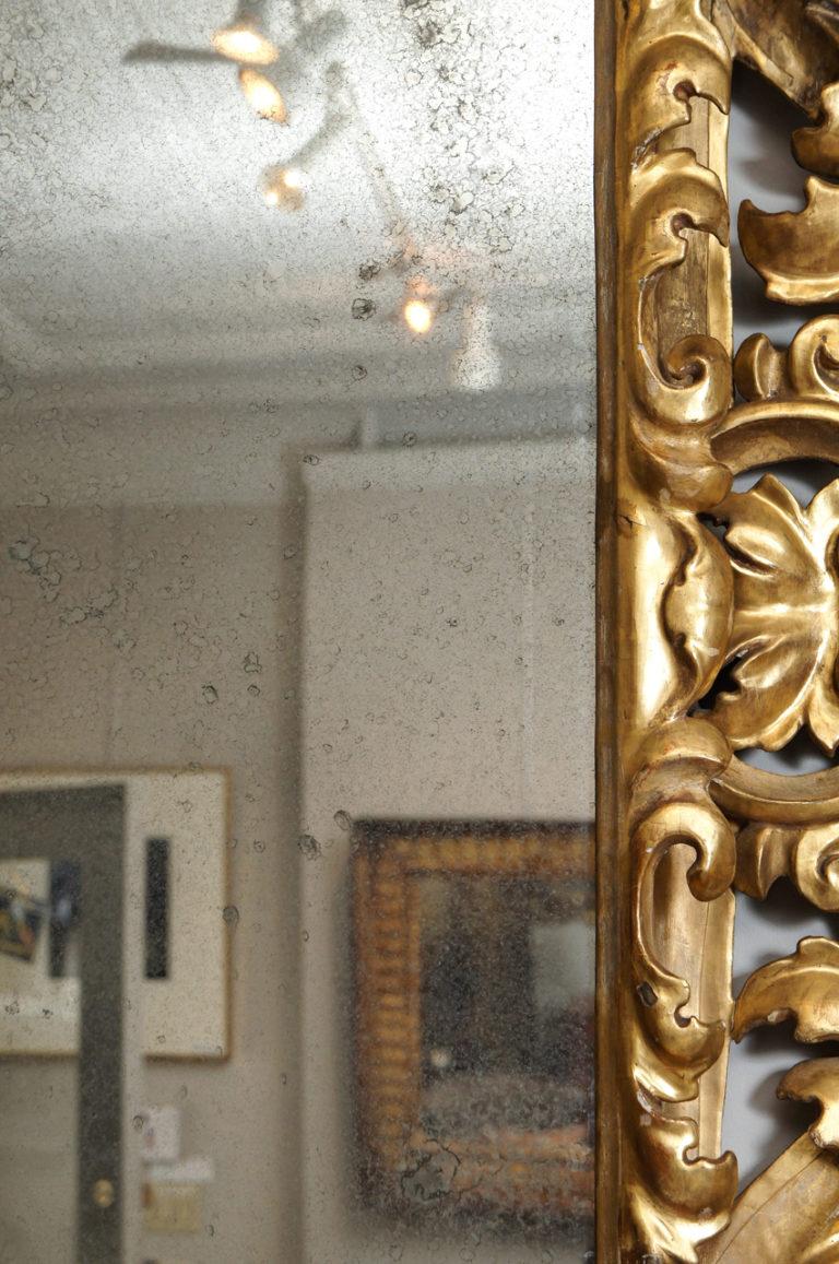 Florentine 19th Century Guilt Wood Mirror