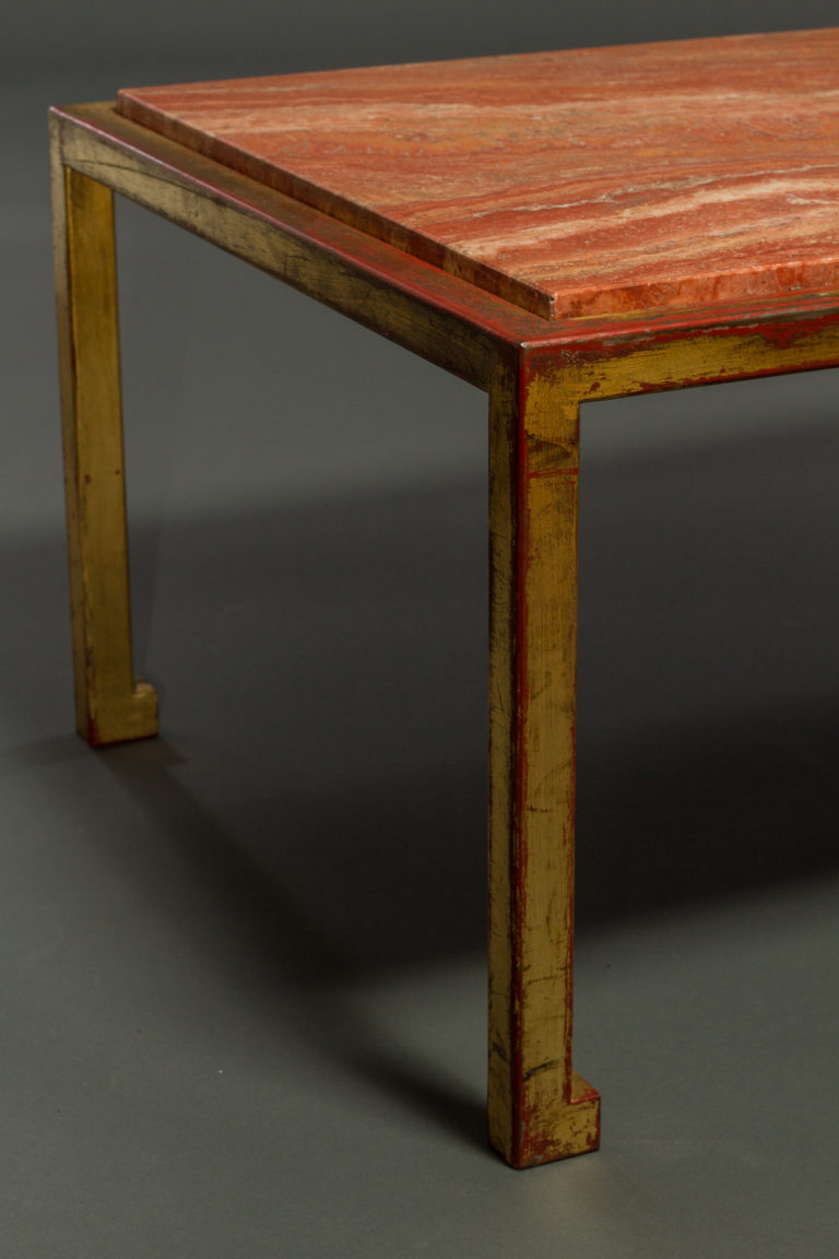 French 1940's Bronze and Marble Cocktail Table