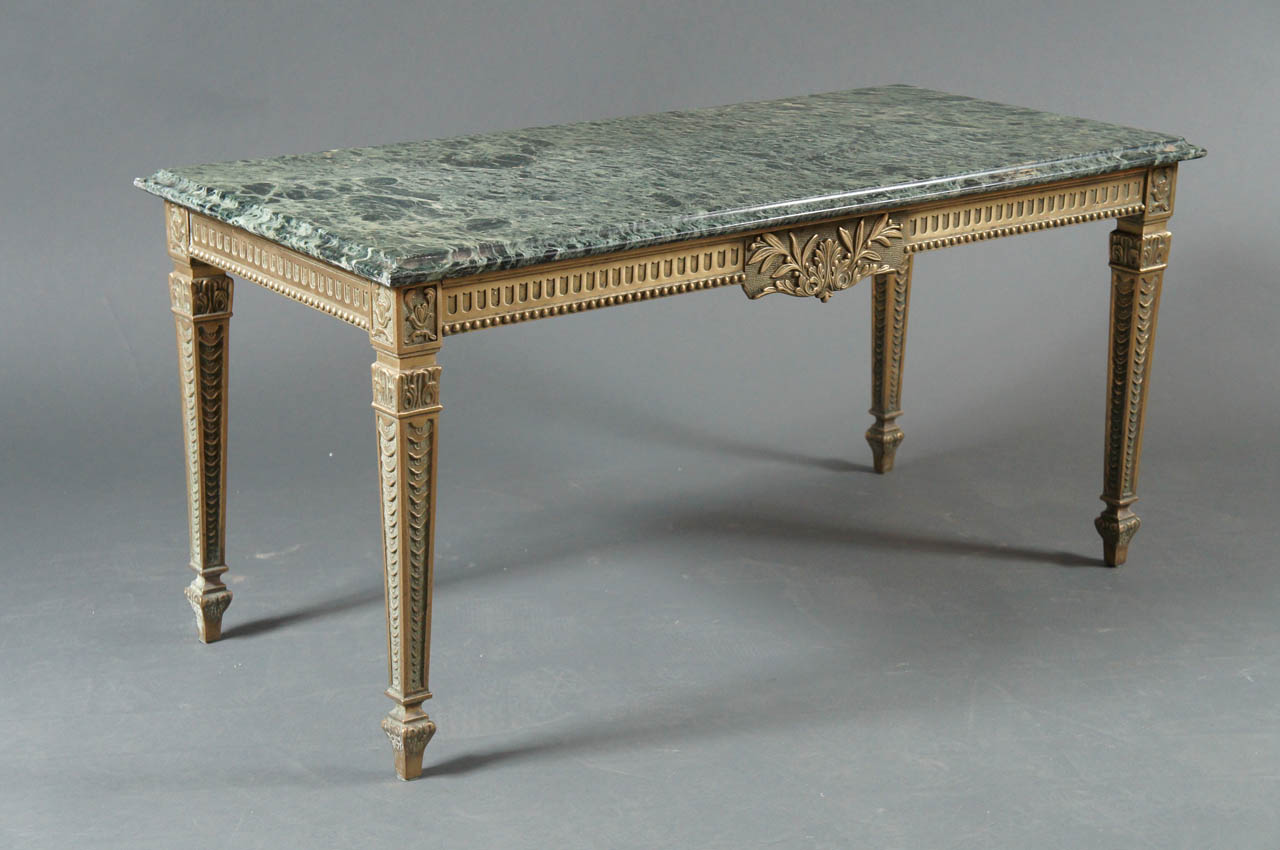 French 1940s Marble Top Table with Brass Base