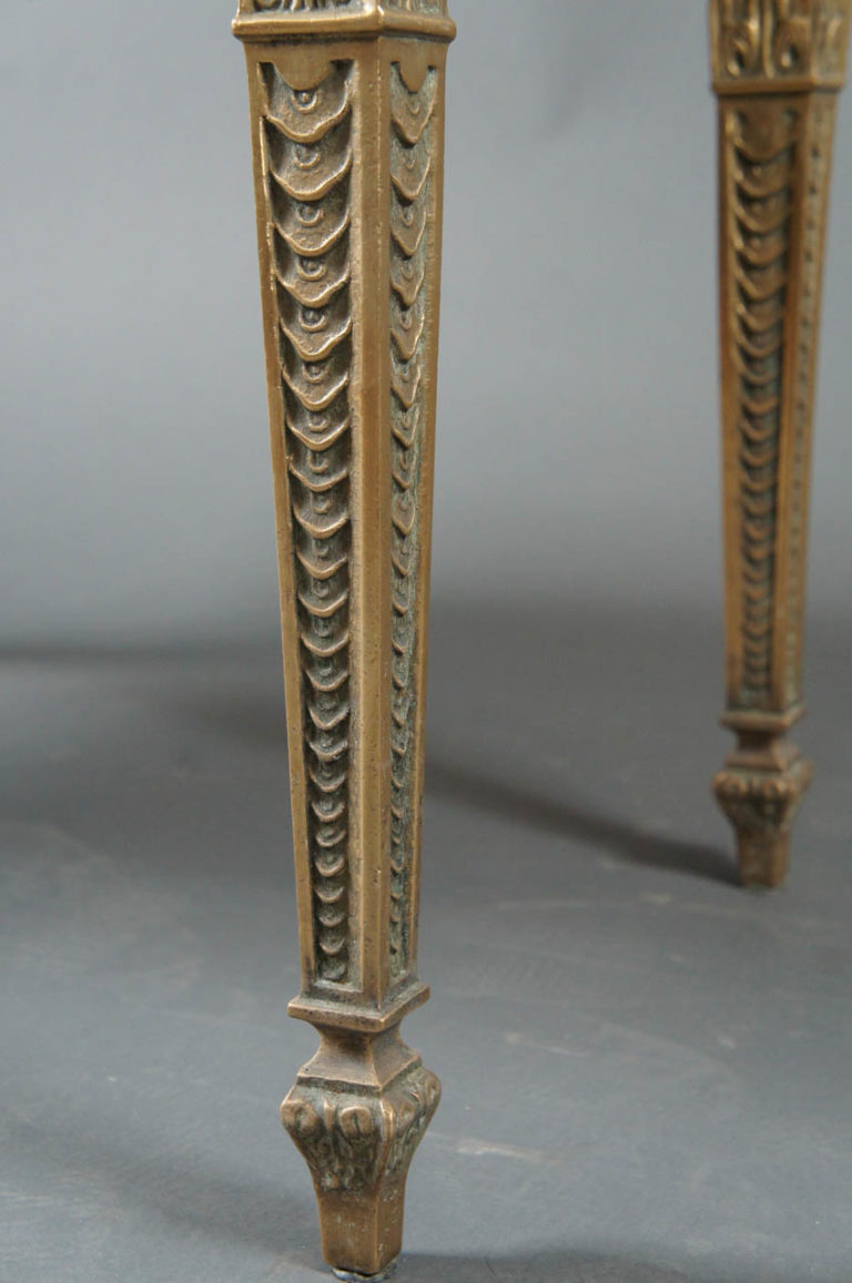 French 1940's Marble Top Table with Brass Base
