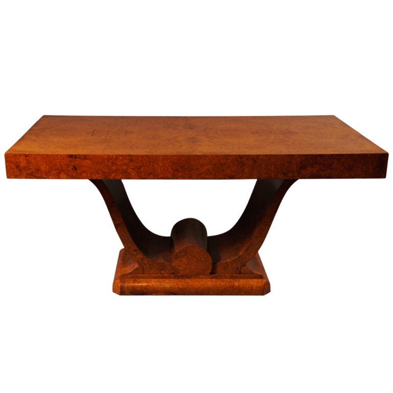 French Art Deco Amboyna Wood Dinning Table