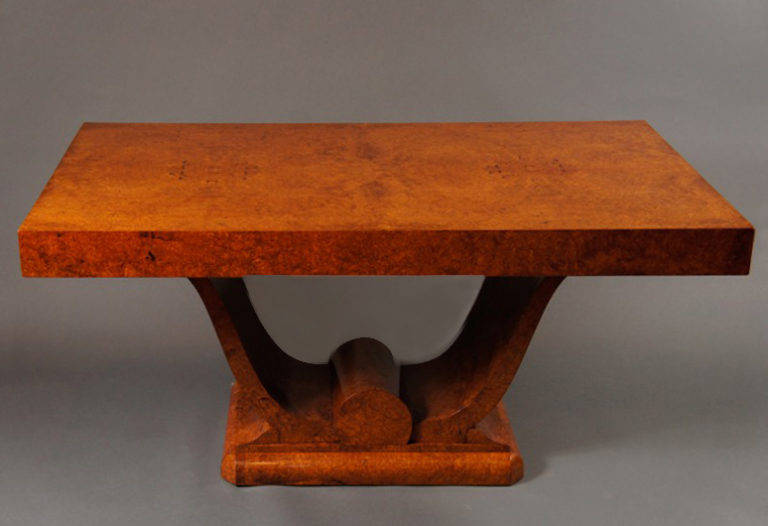 French Art Deco Amboyna Wood Dinning Table